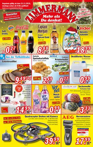 Zimmermann Sonderposten Coca Cola, Coca Cola zero und Fanta 330ml Flasche für 0,27€