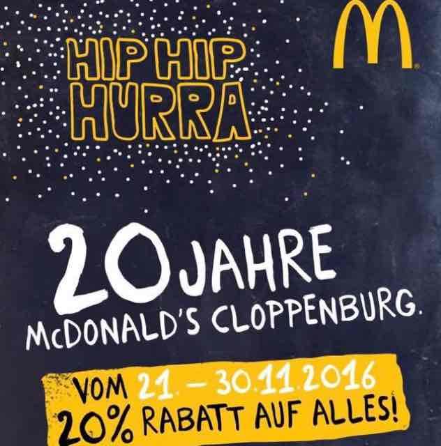 [Cloppenburg] 20% auf ALLES bei McDonalds