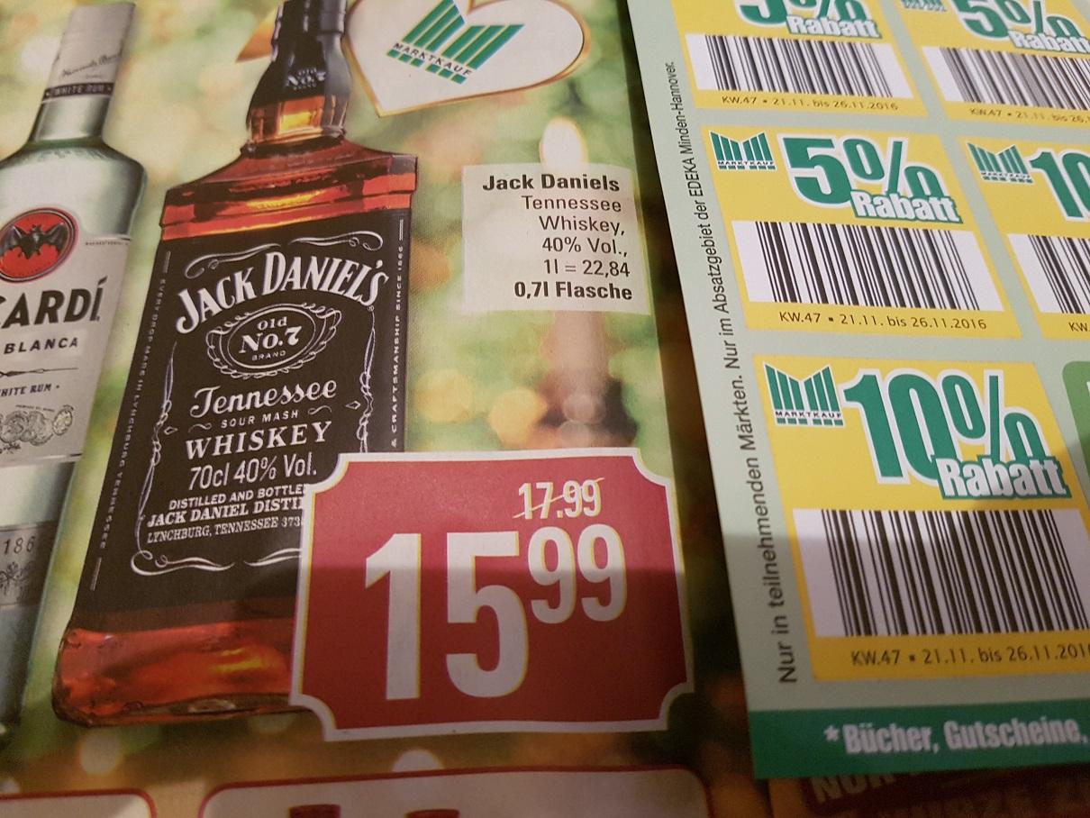 Jack Daniels 70cl Flasche 40% für 14,39 Im Marktkauf