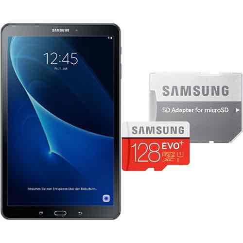 Samsung Galaxy Tab A (2016) T580N schwarz + Samsung MicroSDXC 128GB 10 Speicherkarte