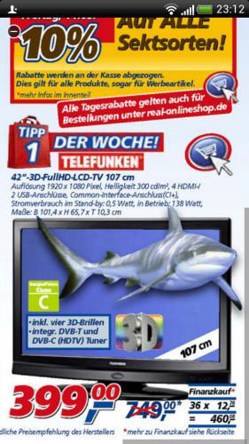 Real telefunken 107cm 3d 399€