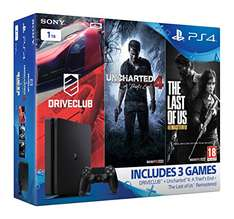 Playstation 4 Slim 1TB + Uncharted 4 + DriveClub + The Last of Us für 292,87€ bei Amazon.co.uk