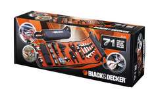 [Amazon Prime] Black + Decker A7144-XJ Handliche Rolltasche mit Autowerkzeugzubehör (76-teilig)