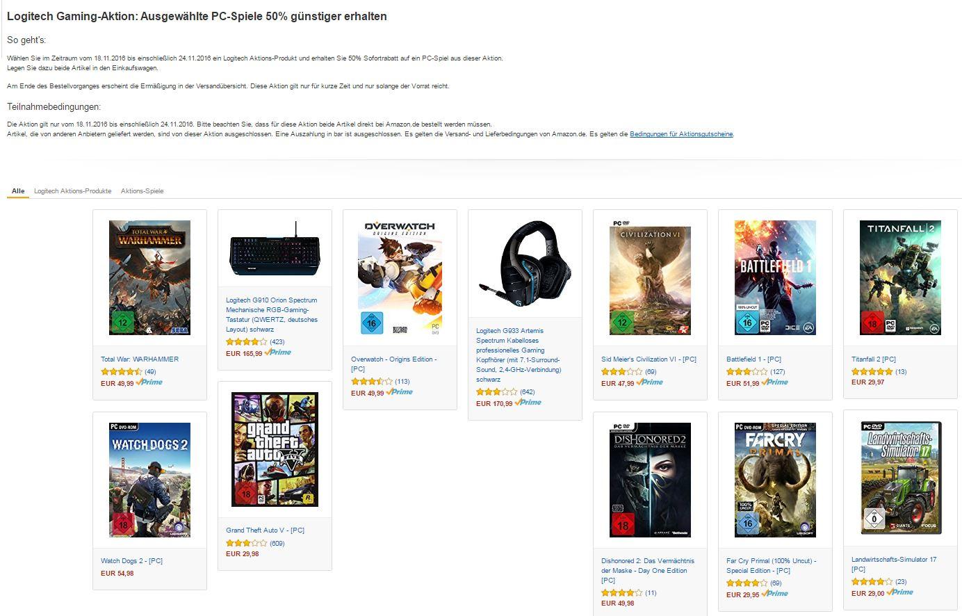Logitech Gaming-Aktion: Ausgewählte PC-Spiele 50% günstiger erhalten bei Kauf eines Logitech Aktions KB, Maus o. Headset