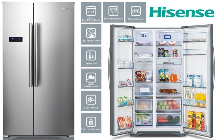 Hisense SBS 518 A+ EL Side-by-Side Kühlschrank - 516l, Edelstahl-Optik, A+ für nur 509,90€ inkl. Versand + 4% Cashback (idealo: 540€) - Ersparnis: 30€