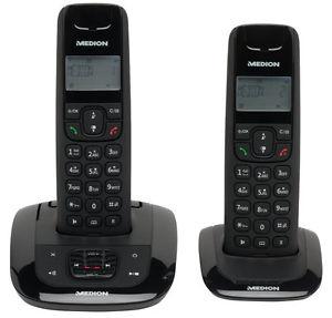 MEDION LIFE E63192 Twin DECT 2er Set schnurlos Telefon mit integr. Anrufbeantworter  @ebay 19,99€