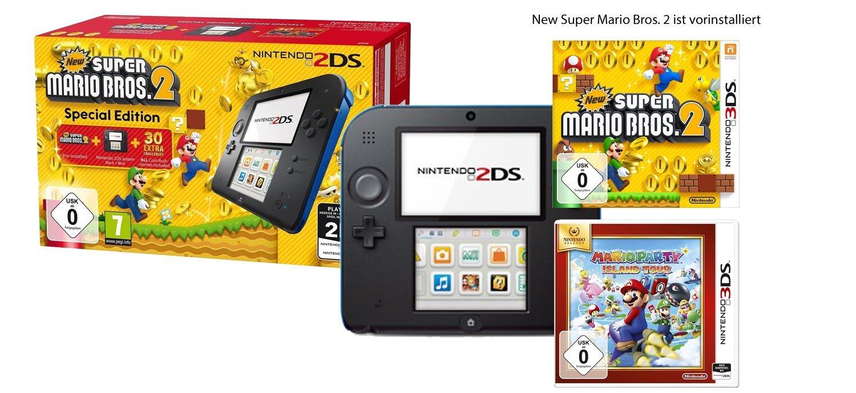 Nintendo 2DS (schwarz) inkl. New Super Mario Bros. 2 + Mario Party: Island für 99,97€