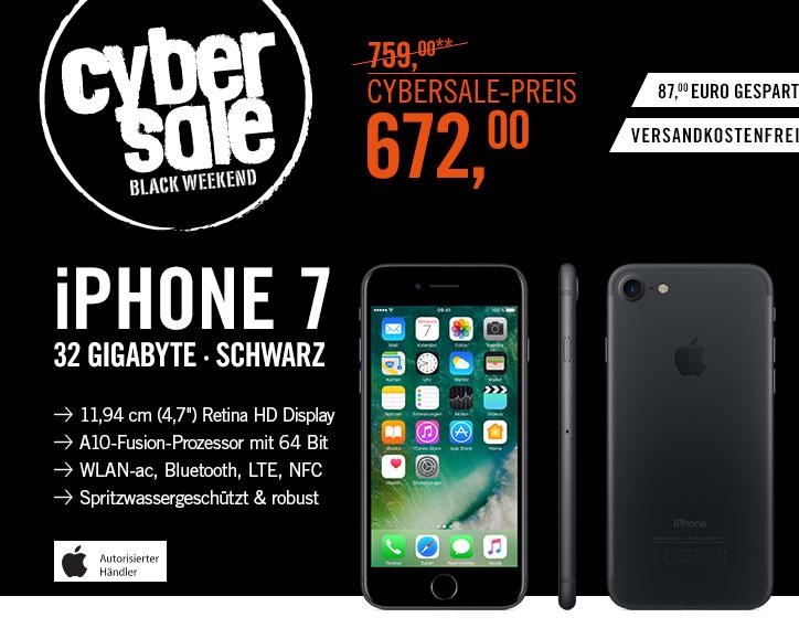 Cyberport: Apple iPhone 7 32 GB schwarz für 672,00 EUR