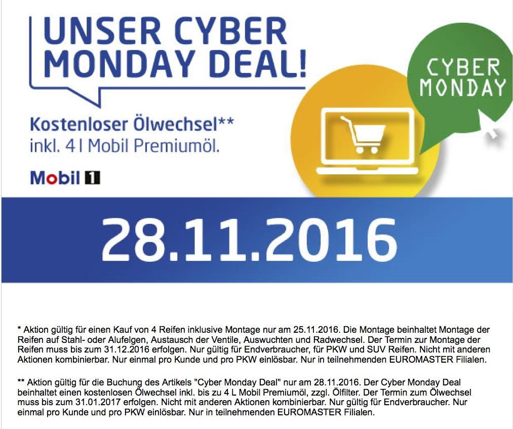 Kostenloser Ölwechsel inkl. 4 l Mobil Premium Öl bei Euromaster am Cyber Monday
