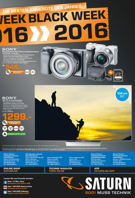 [Lokal Saturn München?] Sony A6000 + 16-50mm Kit-Objektiv + Tasche + 16GB SD-Karte schwarz und silber
