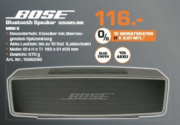 [Lokal Saturn Osnabrück ab 23.11] Bose SoundLink Mini Bluetooth Lautsprecher II carbon für 116,-€ + 10,-€ Casback beu Registrierung über Bose