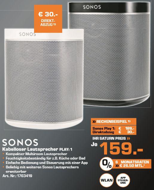 [Lokal Saturn Düsseldorf/Neuss ab 23.11] Sonos PLAY:1 Kompakter Multiroom Smart Speaker für Wireless Music Streaming (Weiß oder Schwarz] für je 159,-€