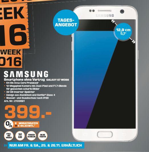 [Lokal Saturn Frankfurt/Offenbach/Neu Isenburg] Tagesangebot NUR am 25.11 und 26.11- Samsung Galaxy S7 (SM-G930F 32GB) white pearl für 399,-€