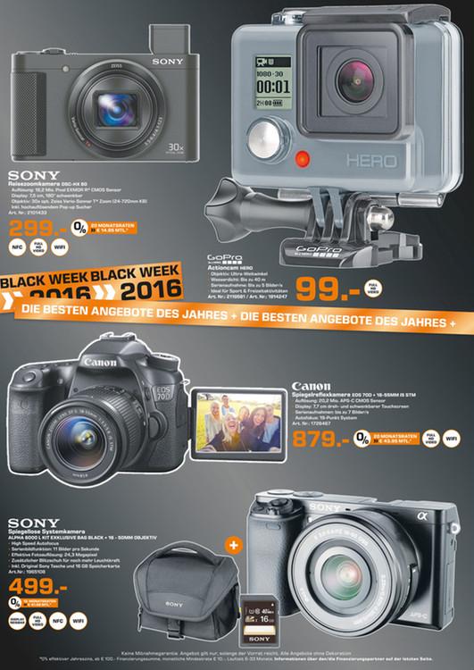 Saturn Gelsenkirchen: Sony Alpha 6000 Kit 16-50mm schwarz/silber + Taschen + 16GB SD
