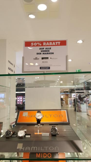 50 % Rabatt auf Uhren der Marke Hamilton, Tissot Mido und co. bei Karstadt Berlin Steglitz