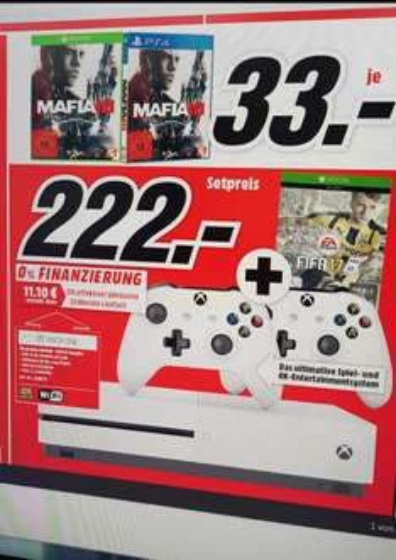 Media Markt MTZ XBOX ONE S BUNDLE MIT 2 CONTROLLERN UND FIFA 17 [Lokal Mediamarkt Sulzbach]