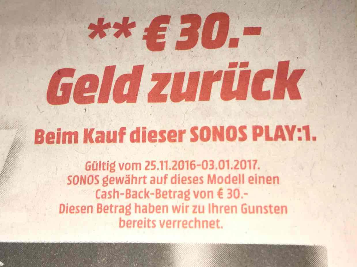 Sonos: 30€ Cashback auf Play:1 bei Media Markt und Saturn ab 25.11.
