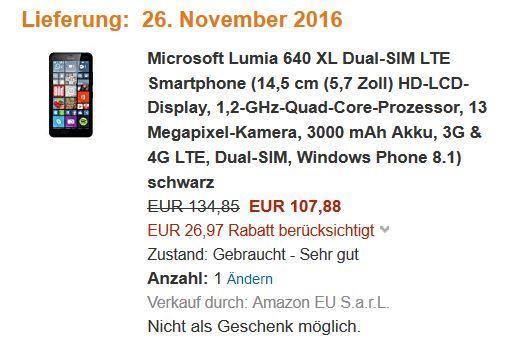[Amazon WHD] Microsoft Lumia 640 XL LTE Dual SIM in schwarz für 107,88 EUR