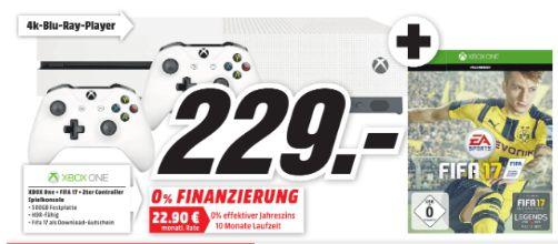 [Lokal Mediamarkt Alzey/Bischofsheim/Mainz]  Microsoft Xbox One S 500GB + FIFA 17 + 2.Controller für 229,-€