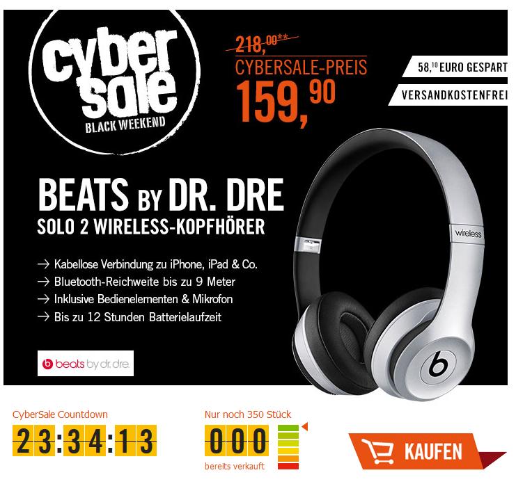 CyberSale Beats by Dr. Dre Solo2 Wireless Kopfhörer space grau