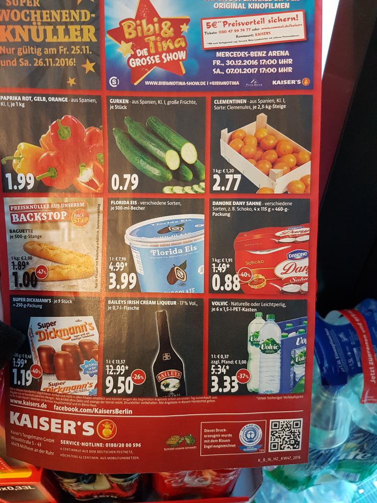 Florida Eis bei Kaisers Berlin 4 euro statt FUNF €  und mehr 25.11 und 26.11