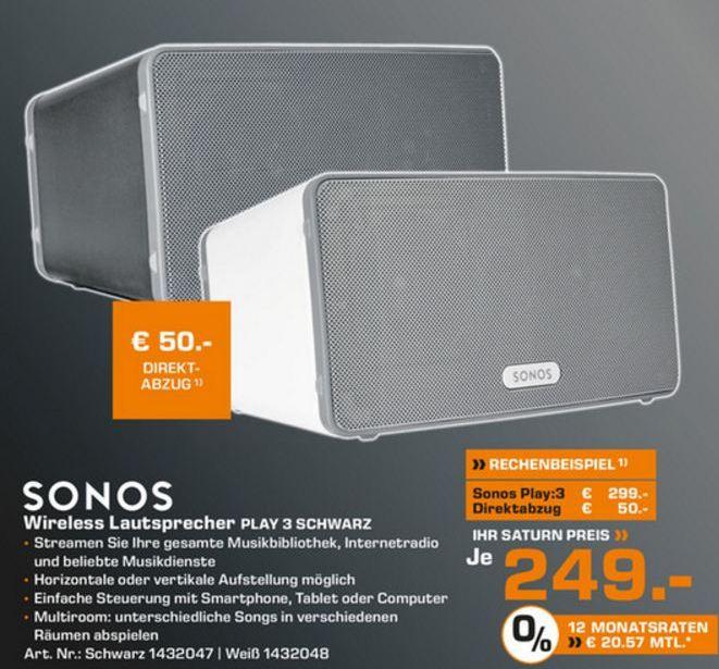 [Lokal Saturn Kiel] Sonos Play 3 für 249€ & Sonos Play 5 für 479€