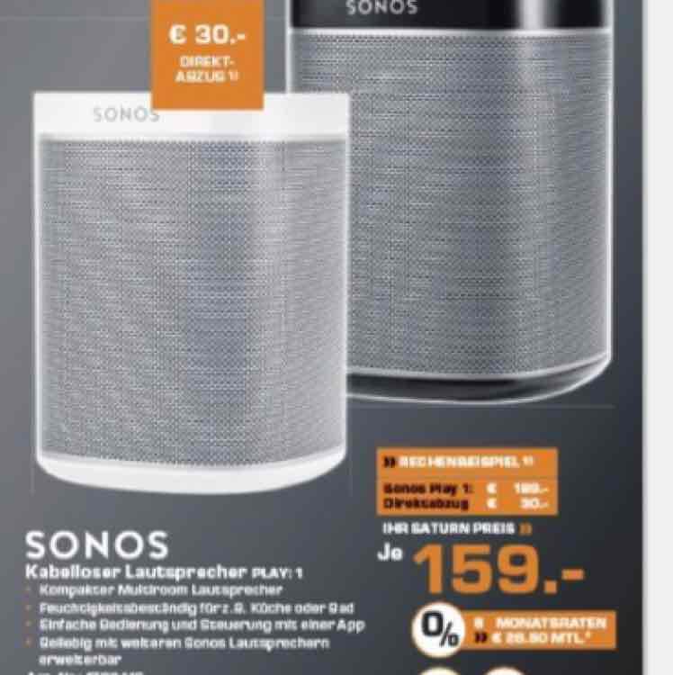 SONOS Play 1 Saturn 30 Euro direkt-Abzug! BUNDESWEIT AB 24.11.16