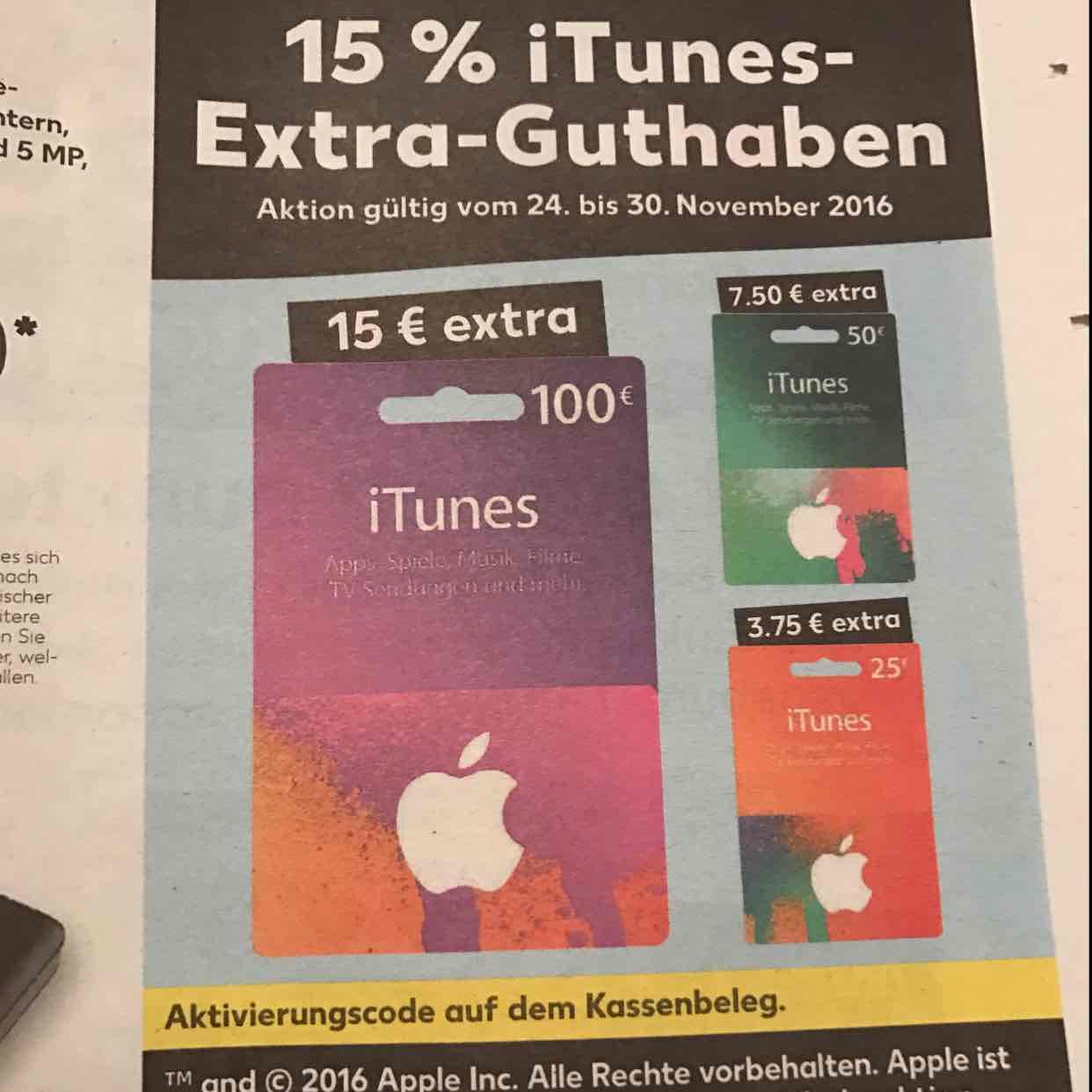 15% iTunes Extra Guthaben bei Kaufland vom 24.11.-30.11.2016