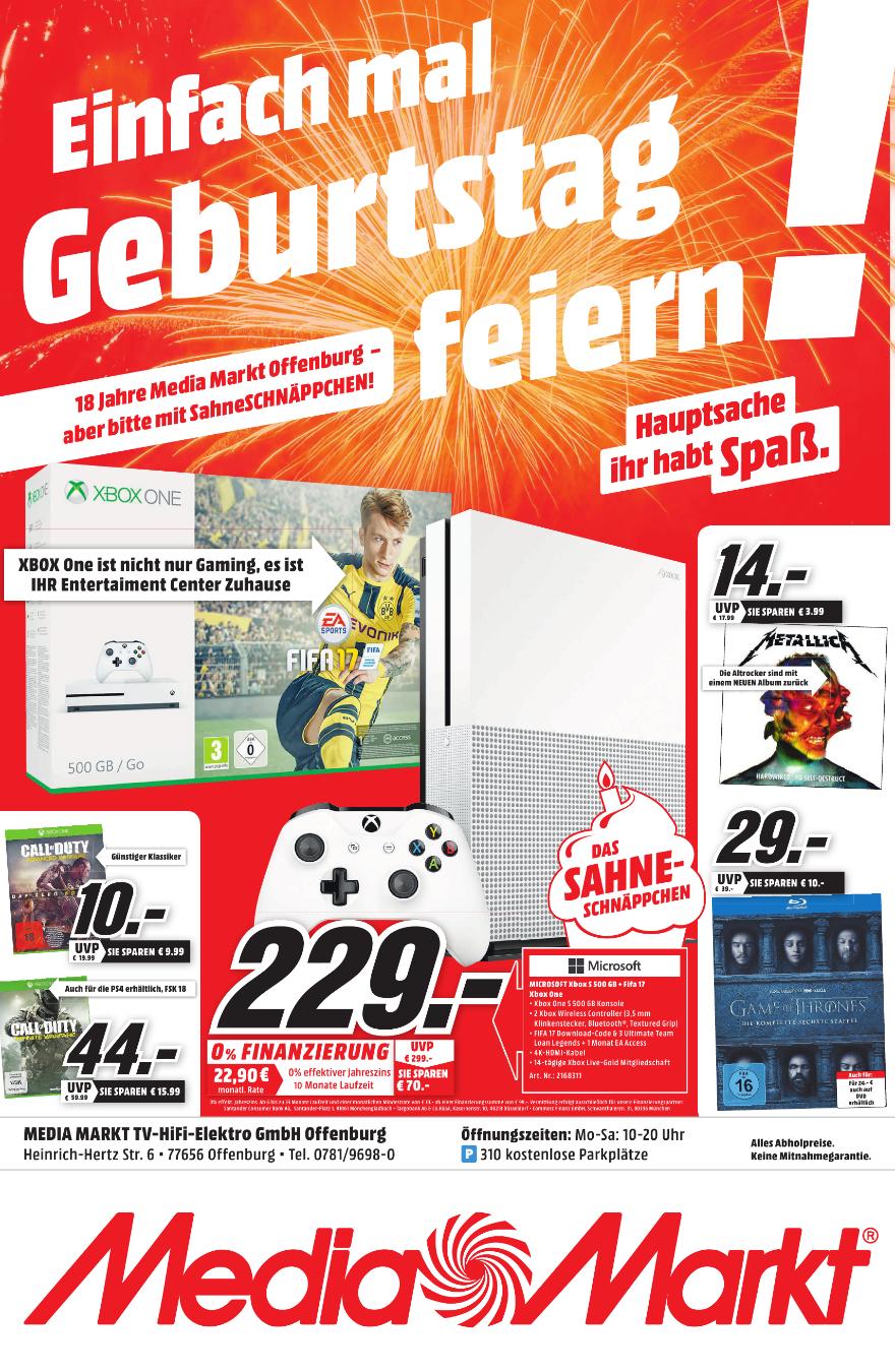 [Media Markt Offenburg lokal] XBOX One s Fifa Bundle mit 2. Controllern 229€ und Fritzbox 7490 für 169€