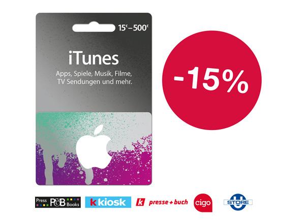 15% Rabatt auf iTunes-Guthaben