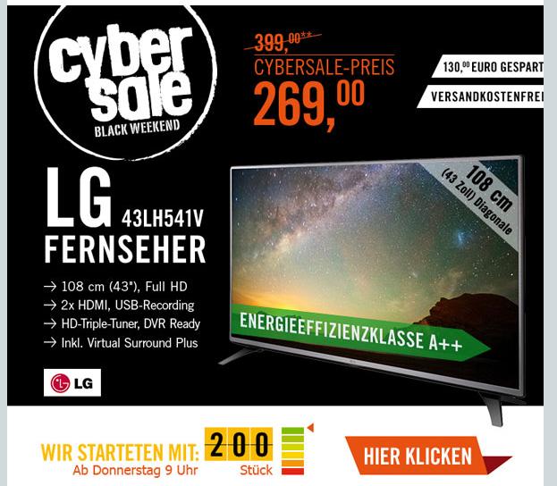 """(Cyberport.de) CyberSale LG 43LH541V 108cm 43"""" Full HD Fernseher LG Fernseher"""