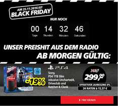 Sony, PS4 1TB Slim inkusive Uncharted4, Driveclub und Ratchet & Clank, am Black Friday (real online)