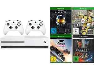 EBay --- Xbox One S Pakete ab 202€ --- Beispiel:  Xbox One S mit Forza, FIFA 17, Halo und 2. Controller ein. Preis 315€  / Xbox One 500GB FIFA 17 Bundle incl. Play & Charge Kit 202€ /