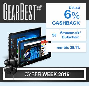 Gearbest: 5€ Amazon GS ab 50€ MBW + 4-6% Cashback (Shoop)