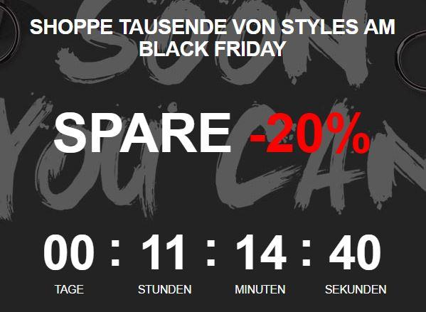 Black Friday bei Zalando - 20% Rabatt auf 188.791 Artikel - Ab Mitternacht (00:00:01 Uhr 25.11.2016)