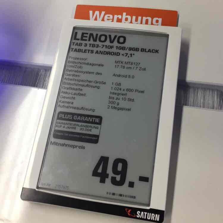 Lenovo Tab 3 (TB3-710F) nur 49€ [SATURN]