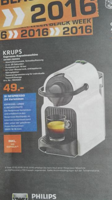(Lokal Saturn Neuss) Krups Nespresso Inissia XN1001