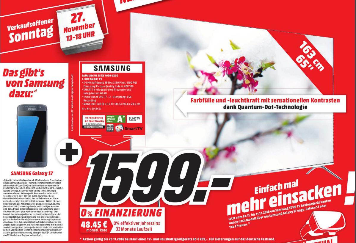 [Media Markt Paderborn] Samsung UE 65 KS 7090 UXZG S-UHD Smart TV + Galaxy S7