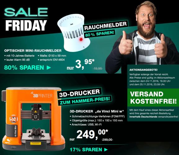 Black Friday Sale bei Reichelt Elektronik - 3D Drucker für 250€, Rauchmelder für 4€, LED für 1,95€, Rollei Stativ für 129€