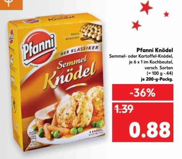 Pfanni Semmel- oder Kartoffel-Knödel 200g Sixpacks für 0,88€ nur bei Kaufland