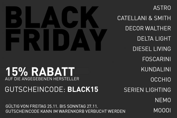 Black Friday bei getlight.de 15% Rabatt auf Designleuchten