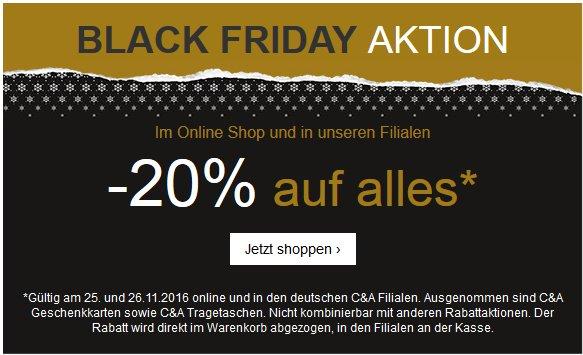 C&A - Black Friday Aktion: -20% auf alles!