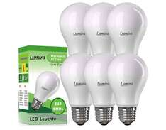 6x Lumira LED Lampe, E27, 10 Watt, Warmweiß