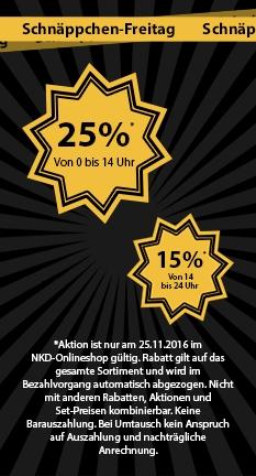 NKD - 25% Rabatt auf Alles bis 14 Uhr - ab 14 Uhr 15 % Rabatt - Black Friday
