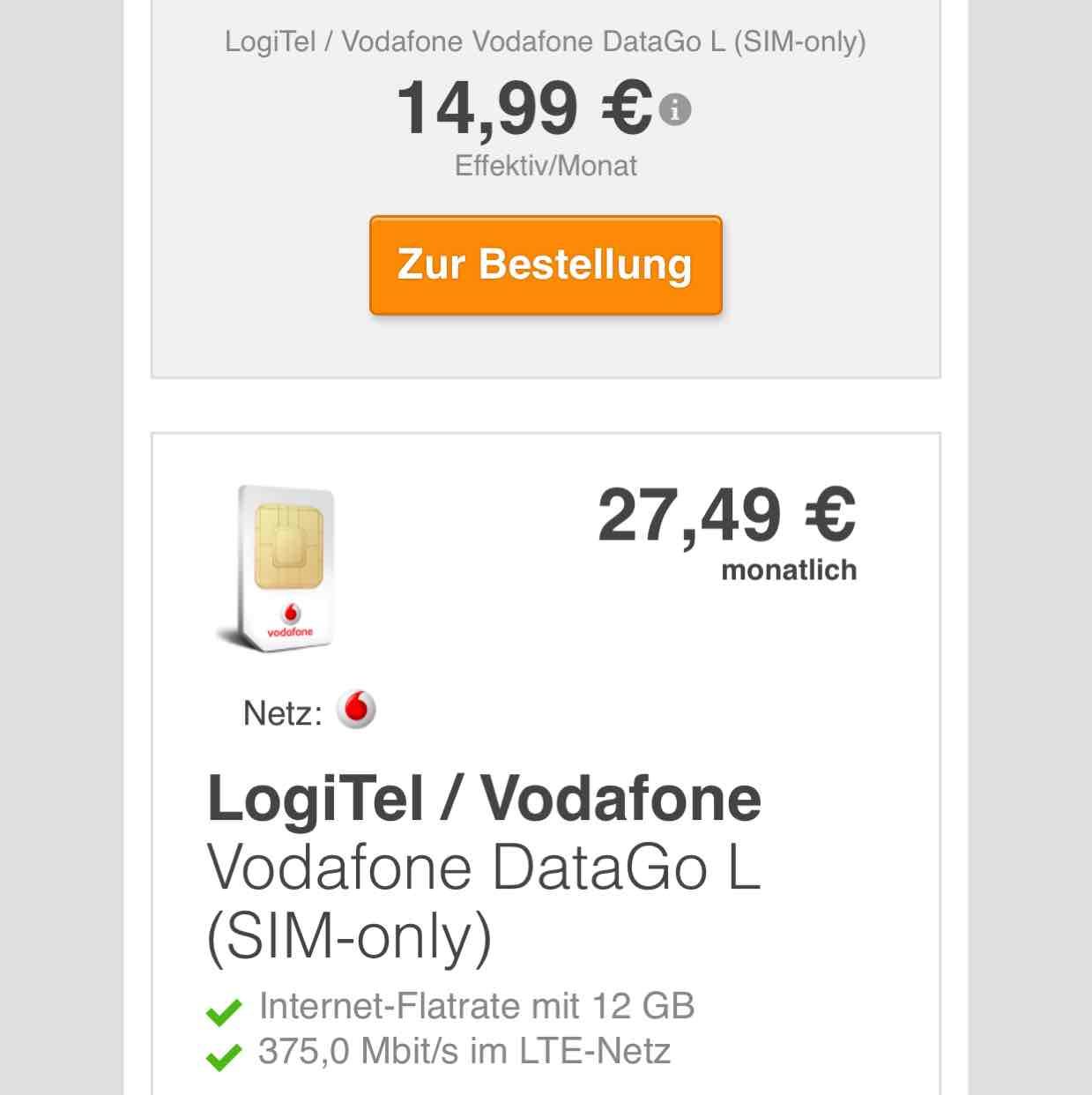 Vodafone DataGo L Internet-Flatrate mit 12 GB LTE-Netz 375,0 Mbit/s