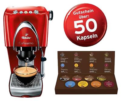 Tchibo Cafissimo CLASSIC Hot Red + Probierset + Gutschein für 50 Gratiskapseln