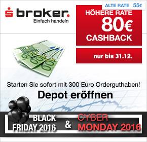 80€ Cashback + 300€ Orderguthaben für die Eröffnung eines Online-Depots bei Sparkassen Broker via Shoop