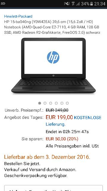HP 15-ba040ng (Y0W42EA) 39,6 cm (15,6 Zoll / HD) Notebook (AMD Quad-Core E2-7110, 4 GB RAM, 128 GB SSD, AMD Radeon R2-Grafikkarte, FreeDOS 2.0) schwarz