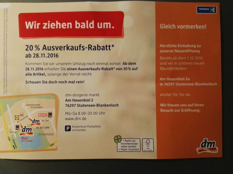 [Lokal] ab 28.11.16 - 20% Ausverkaufs-Rabatt bei dm in Stutensee Blankenloch - evtl. 30% möglich?
