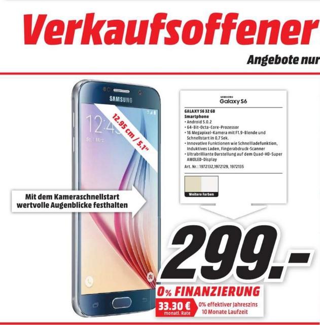 (Lokal) Samsung Galaxy S6 32GB für 299€ Tagesangebot@ Mediamarkt Koblenz & Neuwied